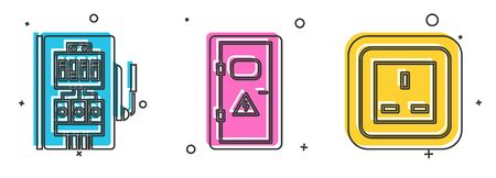 Set Electrical panel, Electrical cabinet and Electrical outlet icon. Vector
