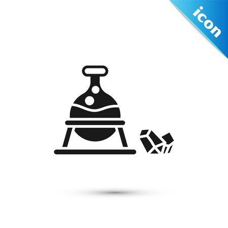 Grey Witch cauldron and magic stone icon isolated on white background. Vector Illustration