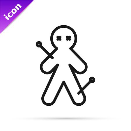Black line Voodoo doll icon isolated on white background. Vector Illustration