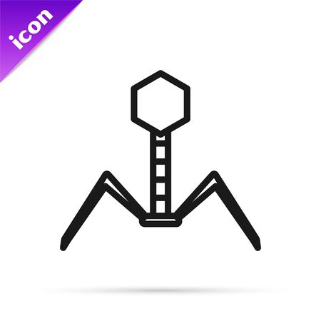 Black line Bacteria bacteriophage icon isolated on white background. Bacterial infection sign. Microscopic germ cause diseases concept. Vector Illustration