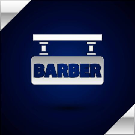Silver Barbershop icon isolated on dark blue background. Hairdresser signboard. Vector Illustration Иллюстрация