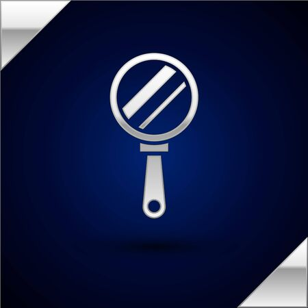 Silver Hand mirror icon isolated on dark blue background. Vector Illustration
