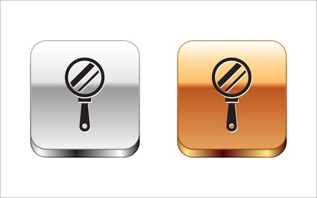 Black Hand mirror icon isolated on white background. Silver-gold square button. Vector Illustration 向量圖像