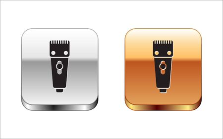 Black Electrical hair clipper or shaver icon isolated on white background. Barbershop symbol. Silver-gold square button. Vector Illustration