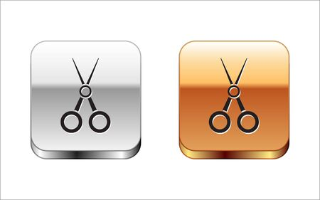Black Scissors hairdresser icon isolated on white background. Hairdresser, fashion salon and barber sign. Barbershop symbol. Silver-gold square button. Vector Illustration Иллюстрация