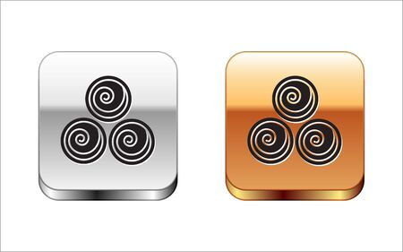 Black Towel rolls icon isolated on white background. Silver-gold square button. Vector Illustration Vector Illustration