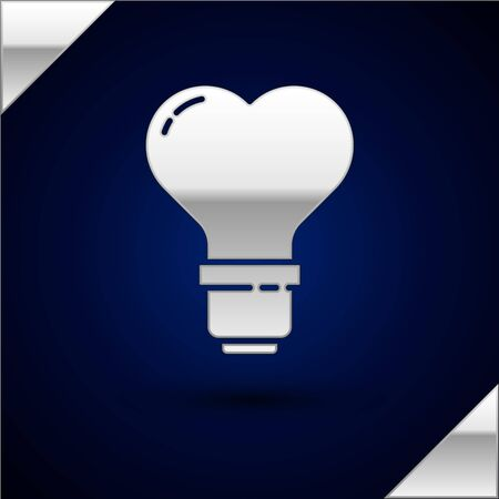 Silver Heart shape in a light bulb icon isolated on dark blue background. Love symbol. Valentine day symbol. Vector Illustration