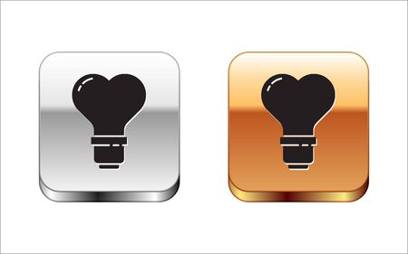Black Heart shape in a light bulb icon isolated on white background. Love symbol. Valentine day symbol. Silver-gold square button. Vector Illustration
