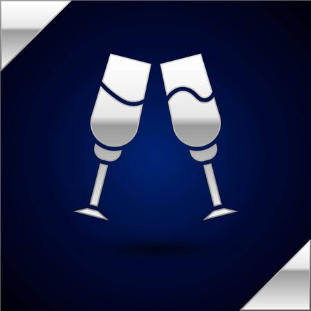 Silver Glass of champagne icon isolated on dark blue background. Vector Illustration