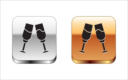 Black Glass of champagne icon isolated on white background. Silver-gold square button. Vector Illustration