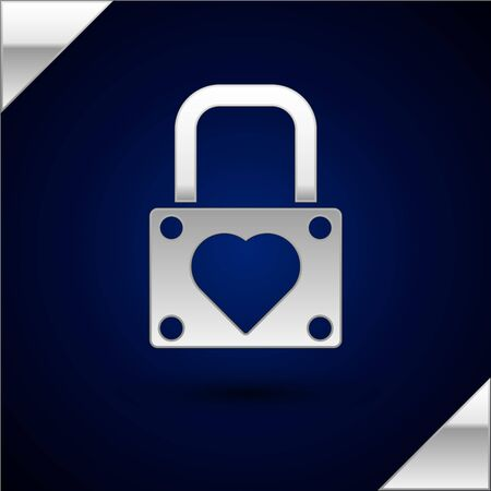 Silver Lock and heart icon isolated on dark blue background. Locked Heart. Love symbol and keyhole sign. Valentines day symbol. Vector Illustration