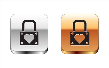 Black Lock and heart icon isolated on white background. Locked Heart. Love symbol and keyhole sign. Valentines day symbol. Silver-gold square button. Vector Illustration