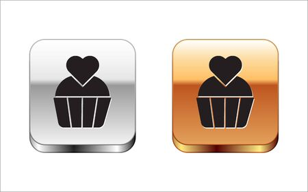 Black Wedding cake with heart icon isolated on white background. Valentines day symbol. Silver-gold square button. Vector Illustration Foto de archivo - 143290083