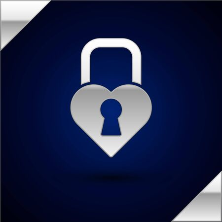 Silver Castle in the shape of a heart icon isolated on dark blue background. Locked Heart. Love symbol and keyhole sign. Valentines day. Vector Illustration  イラスト・ベクター素材