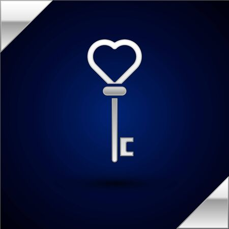 Silver Key in heart shape icon isolated on dark blue background. Vector Illustration