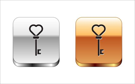 Black Key in heart shape icon isolated on white background. Silver-gold square button. Vector Illustration