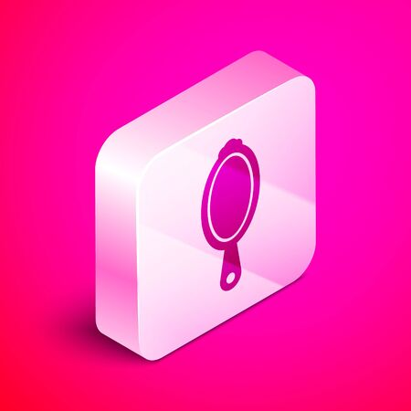 Isometric Magic hand mirror icon isolated on pink background. Silver square button. Vector Illustration 向量圖像