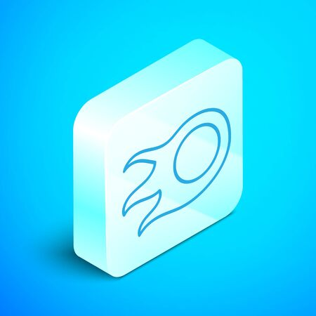 Isometric line Fireball icon isolated on blue background. Silver square button. Vector Illustration 向量圖像
