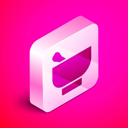 Isometric Magic mortar and pestle icon isolated on pink background. Silver square button. Vector Illustration