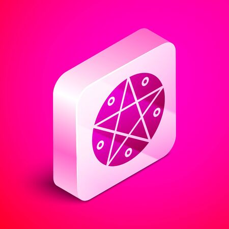 Isometric Pentagram in a circle icon isolated on pink background. Magic occult star symbol. Silver square button. Vector Illustration