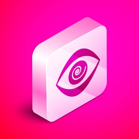 Isometric Hypnosis icon isolated on pink background. Human eye with spiral hypnotic iris. Silver square button. Vector Illustration  イラスト・ベクター素材