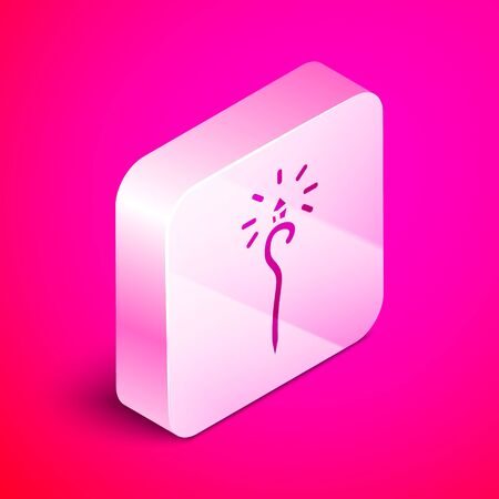 Isometric Magic staff icon isolated on pink background. Magic wand, scepter, stick, rod. Silver square button. Vector Illustration Ilustração
