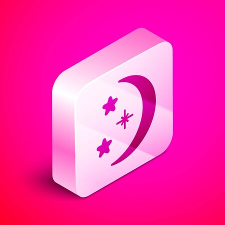 Isometric Moon and stars icon isolated on pink background. Silver square button. Vector Illustration Ilustração