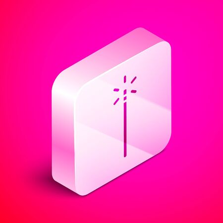 Isometric Magic wand icon isolated on pink background. Star shape magic accessory. Magical power. Silver square button. Vector Illustration