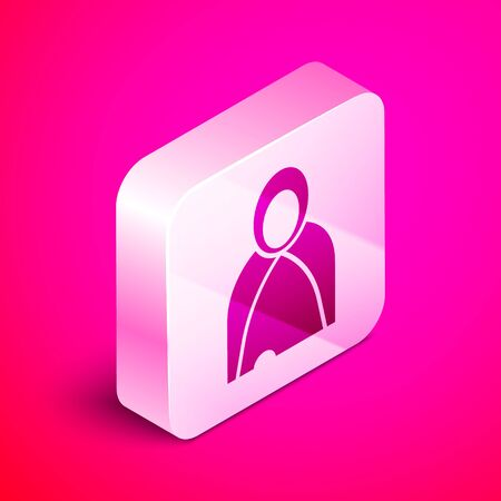 Isometric Mantle, cloak, cape icon isolated on pink background. Magic cloak of mage, wizard and witch for halloween design. Silver square button. Vector Illustration  イラスト・ベクター素材