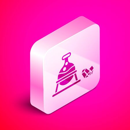 Isometric Witch cauldron and magic stone icon isolated on pink background. Silver square button. Vector Illustration Ilustração