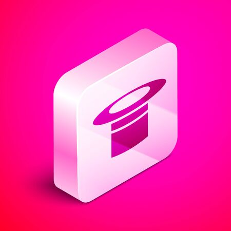 Isometric Magician hat icon isolated on pink background. Magic trick. Mystery entertainment concept. Silver square button. Vector Illustration