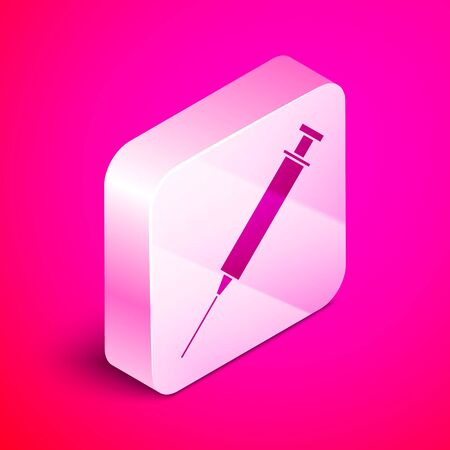 Isometric Syringe icon isolated on pink background. Syringe for vaccine, vaccination, injection, flu shot. Medical equipment. Silver square button. Vector Illustration