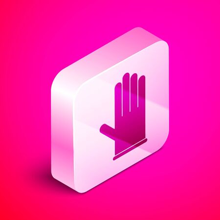 Isometric Medical rubber gloves icon isolated on pink background. Protective rubber gloves. Silver square button. Vector Illustration