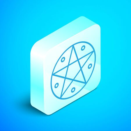 Isometric line Pentagram in a circle icon isolated on blue background. Magic occult star symbol. Silver square button. Vector Illustration