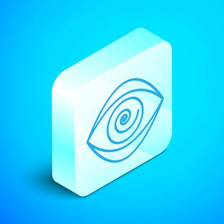 Isometric line Hypnosis icon isolated on blue background. Human eye with spiral hypnotic iris. Silver square button. Vector Illustration  イラスト・ベクター素材