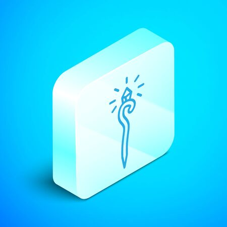 Isometric line Magic staff icon isolated on blue background. Magic wand, scepter, stick, rod. Silver square button. Vector Illustration Ilustração