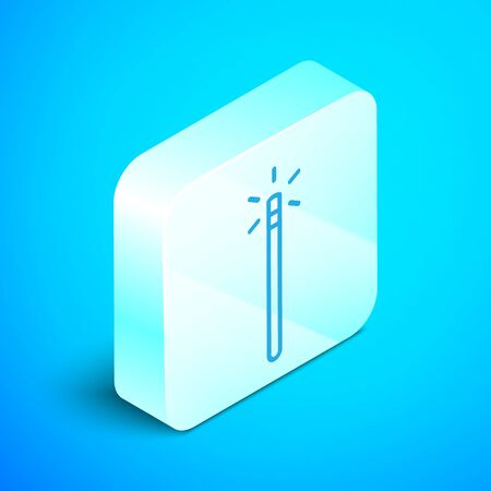 Isometric line Magic wand icon isolated on blue background. Star shape magic accessory. Magical power. Silver square button. Vector Illustration