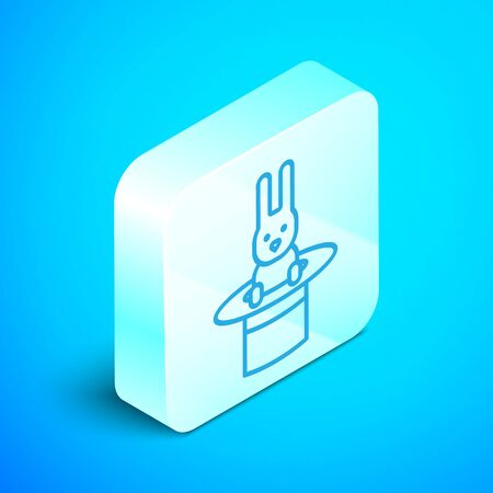 Isometric line Magician hat and rabbit icon isolated on blue background. Magic trick. Mystery entertainment concept. Silver square button. Vector Illustration Ilustração