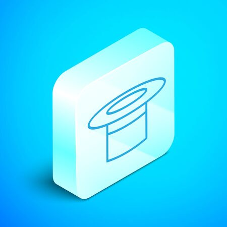 Isometric line Magician hat icon isolated on blue background. Magic trick. Mystery entertainment concept. Silver square button. Vector Illustration
