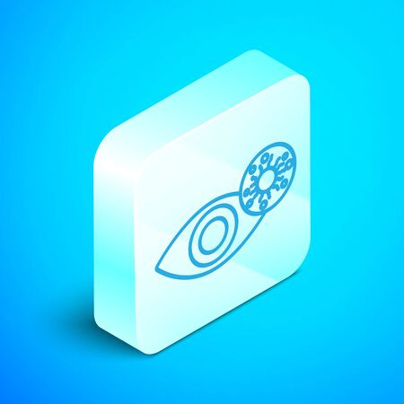 Isometric line Reddish eye due to virus, bacterial or allergic conjunctivitis icon isolated on blue background. Silver square button. Vector Illustration Illusztráció