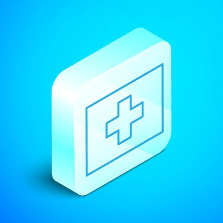 Isometric line First aid kit icon isolated on blue background. Medical box with cross. Medical equipment for emergency. Healthcare concept. Silver square button. Vector Illustration Ilustração