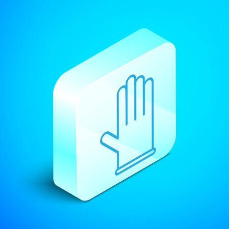 Isometric line Medical rubber gloves icon isolated on blue background. Protective rubber gloves. Silver square button. Vector Illustration