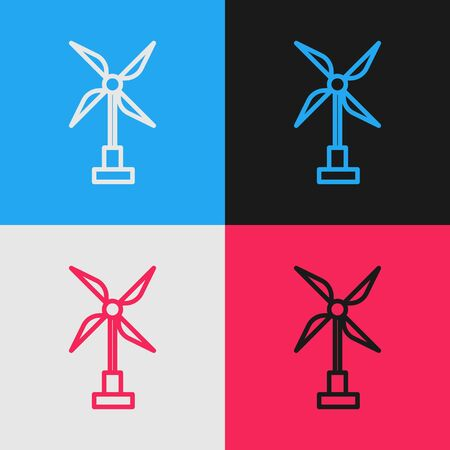 Pop art line Wind turbine icon isolated on color background. Wind generator sign. Windmill for electric power production. Vector Illustration