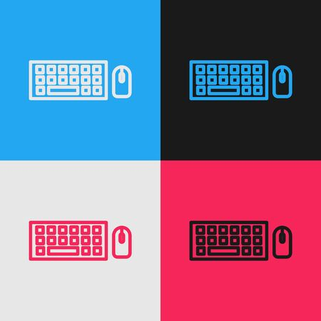 Pop art line Computer keyboard and mouse icon isolated on color background. PC component sign. Vector Illustration 版權商用圖片 - 143291455