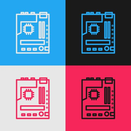 Pop art line Electronic computer components motherboard digital chip integrated science icon isolated on color background. Circuit board. Vector Illustration