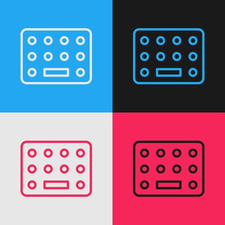 Pop art line Pills in blister pack icon isolated on color background. Medical drug package for tablet, vitamin, antibiotic, aspirin. Vector Illustration Banque d'images - 143293381