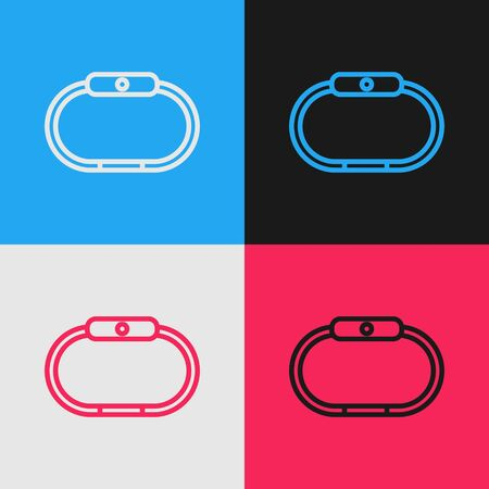 Pop art line Smartwatch icon isolated on color background. Vector Illustration 版權商用圖片 - 143293384