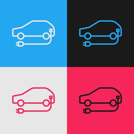 Pop art line Electric car and electrical cable plug charging icon isolated on color background. Renewable eco technologies. Vector Illustration