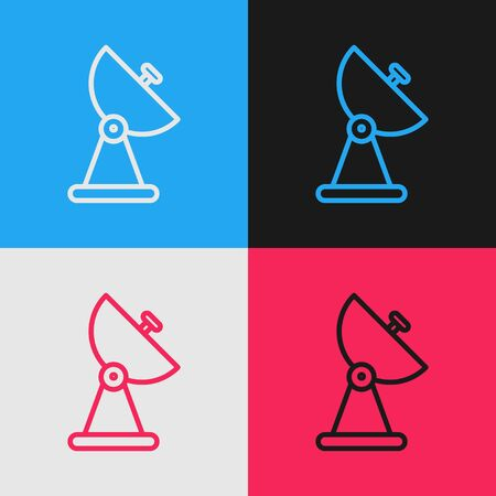 Pop art line Radar icon isolated on color background. Search system. Satellite sign. Vector Illustration 版權商用圖片 - 143293398