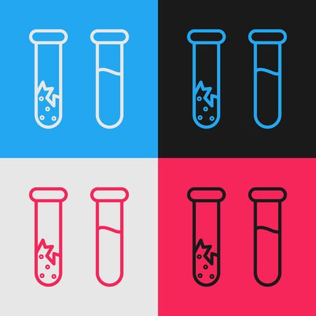Pop art line Test tube and flask - chemical laboratory test icon isolated on color background. Laboratory glassware sign. Vector Illustration Banque d'images - 143290908